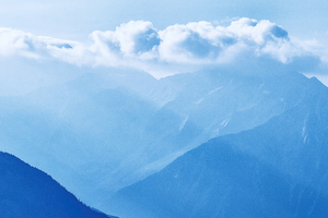 Silhouette Of Mountains Under Cloudy Sky 5k Wallpaper