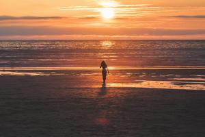 Silhouette Sunset Horizon Lonely Girl