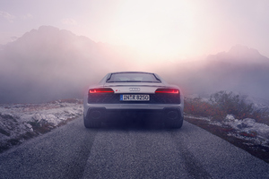 Silver Audi R8 2019 Rear Wallpaper