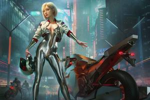 Silver Cyber Biker Girl 4k
