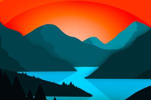 Simple Minimal Mountains Landscape 4k Wallpaper