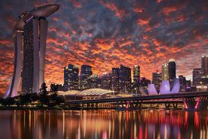 Singapore Skyscrapers Marina Bay Sands Evening 4k