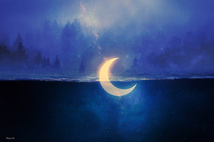 Sinking Moon In Lake Wallpaper