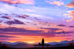 Sitting With Dog On Bench Looking At Sunset Wallpaper