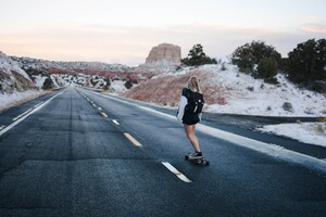 Skateboard Girl 4k 5k Wallpaper
