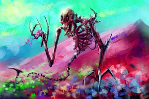 Skelton Skull Colorful Digital Art