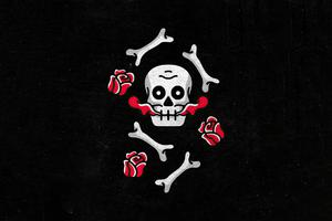 Skull And Roses Dark Minimal 4k Wallpaper