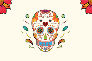 Skull Colorful Flowers Wallpaper