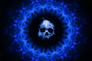 Skull Dark Blue Gothic Fantasy Wallpaper