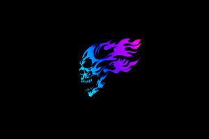 Skull Glowing Minimal Neon 5k Wallpaper