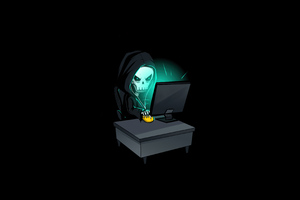 Skull Hacking Time 4k Wallpaper
