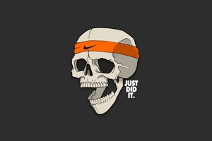 Skull Just Did It Minimalism Wallpaper