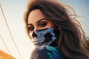 Skull Mask Girl Wallpaper