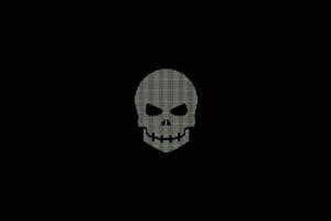 Skull Minimal Pixel 4k Wallpaper
