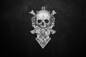 Skull Monochrome Dark Art Wallpaper