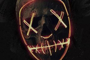 Skull Neon Mask Wallpaper