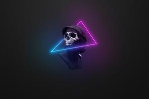 Skull Neon Minimal Logo 5k Wallpaper