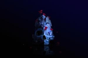Skull Roses Justin Maller 4k Wallpaper