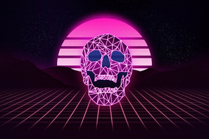 Skull Synthwave 4k Wallpaper