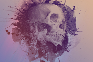 Skull Water Color Art Wallpaper