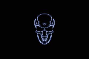 Skull White Glow Dark 4k Wallpaper