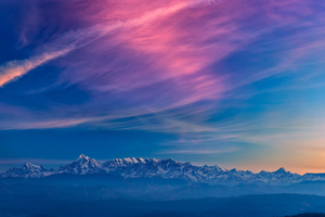 Sky Mountains Fog Sunset 5k