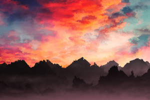 Sky Painting Mountains Landscape 4k Wallpaper