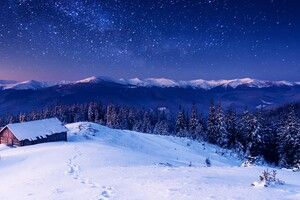 Sky Winter Stars Mountains 4k Wallpaper