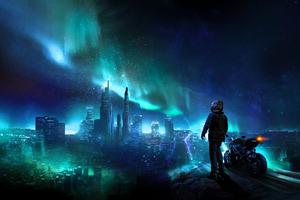 Skylines Biker Blue City Photomanipulation Wallpaper