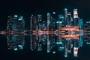 Skyscraper Reflection Buildings In Water Body 5k
