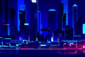 Skyscraper Synthwave Digital Art 4k