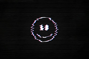 Smiley Glitch Dark Black 4k