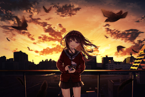 Smiling Anime Girl Taking Photographs Cityscape 4k