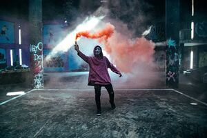 Smoke Bomb Anonymus Mask Guy 5k Wallpaper