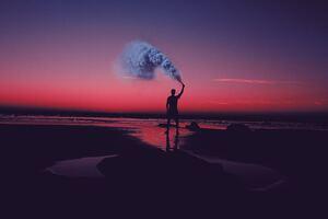 Smoke Bomb Person Dark Beach 5k Wallpaper