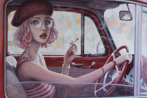 Smoking Cigarette In Car Girl Digital Art Wallpaper