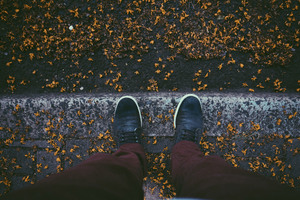 Sneakers Autumn Leaves Fallen 5k Wallpaper