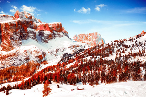 Snow Capped Mountains Red Infrared Dolomites 5k Wallpaper