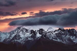 Snow Covered Mountains Clouds Over It 5k Wallpaper
