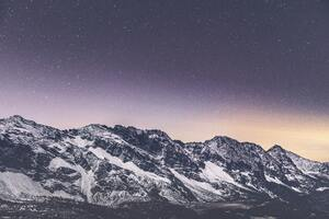 Snow Covered Mountains Stars 5k Wallpaper
