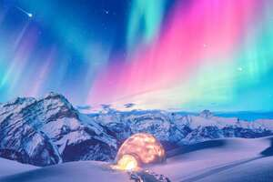Snow Winter Iceland Aurora Northern Lights