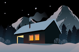 Snowy House In Mountains 5k Wallpaper