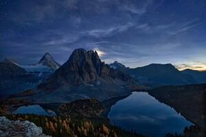 Snowy Peak Starry Night Landscape