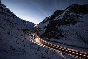 Snowy Road Way Long Exposure Wallpaper