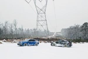 Snowy Subarus Car Wallpaper