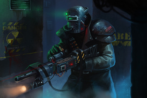 Soldier Helmet Weapons Drawing Painting Conceptual