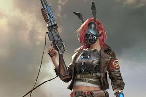 Solider Girl With Gun Mask Scifi 4k Wallpaper