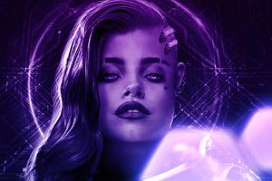 Sombra Overwatch Purple Portrait 4k Wallpaper