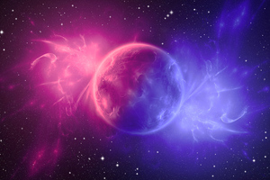 Space Digital Art Pink Planet 4k