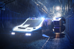 Space Police Cruiser Wallpaper